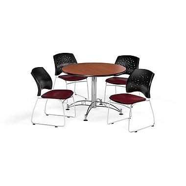 OFM 42 Inch Round Multi-Purpose Cherry Table and Four Burgundy Chairs (PKG-BRK-168-0011)