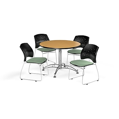 OFM 42 Inch Round Multi-Purpose Oak Table and Four Sage Green Chairs (PKG-BRK-168-0055)