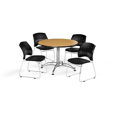 OFM 42 Inch Round Multi-Purpose Oak Table and Four Black Chairs (PKG-BRK-168-0064)