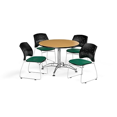 OFM 42 Inch Round Multi-Purpose Oak Table and Four Shamrock Green Chairs (PKG-BRK-168-0049)