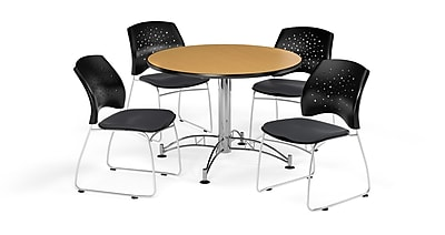 OFM 42 Inch Round Multi-Purpose Oak Table and Four Slate Gray Chairs (PKG-BRK-168-0060)