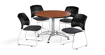OFM 42 Inch Round Multi-Purpose Cherry Table and Four Slate Gray Chairs (PKG-BRK-168-0012)