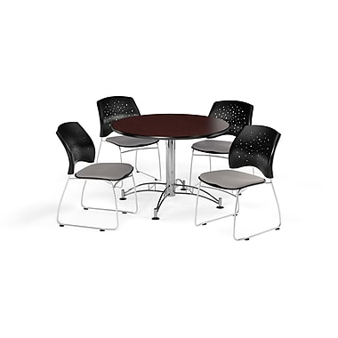 OFM 42 Inch Round Multi-Purpose Mahogany Table and Four Putty Chairs (PKG-BRK-168-0046)