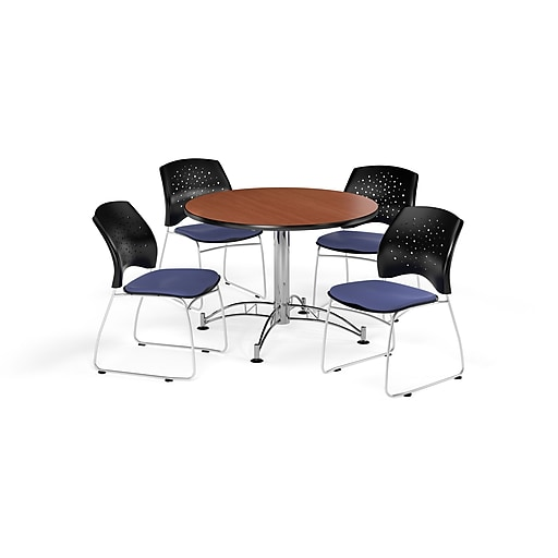 OFM 42 Inch Round Multi-Purpose Cherry Table and Four Colonial Blue Chairs (PKG-BRK-168-0004)
