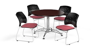 OFM 42 Inch Round Multi-Purpose Mahogany Table and Four Coral Pink Chairs (PKG-BRK-168-0040)