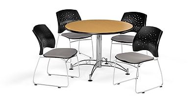 OFM 42 Inch Round Multi-Purpose Oak Table and Four Putty Chairs (PKG-BRK-168-0062)