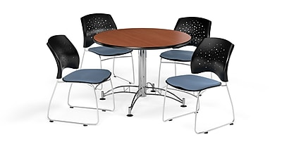 OFM 42 Inch Round Multi-Purpose Cherry Table and Four Cornflower Blue Chairs (PKG-BRK-168-0006)