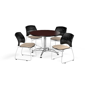 OFM 42 Inch Round Multi-Purpose Mahogany Table and Four Khaki Chairs (PKG-BRK-168-0041)