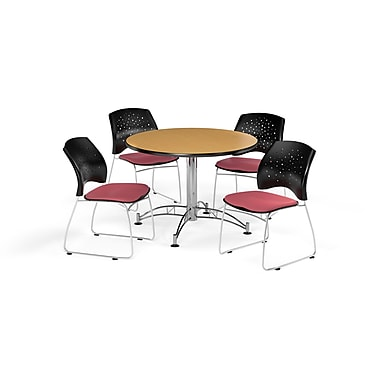 OFM 42 Inch Round Multi-Purpose Oak Table and Four Coral Pink Chairs (PKG-BRK-168-0056)