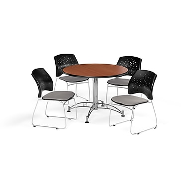 OFM 42 Inch Round Multi-Purpose Cherry Table and Four Putty Chairs (PKG-BRK-168-0014)
