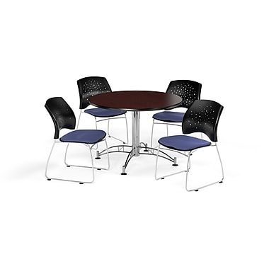 OFM 42 Inch Round Multi-Purpose Mahogany Table and Four Colonial Blue Chairs (PKG-BRK-168-0036)