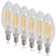 Maxxima Dimmable Clear Filament Candelabra LED Light Bulb Warm White 550 Lumens (6 Pack)