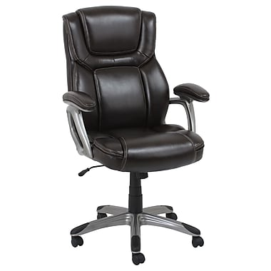Barcalounger Office Furniture Bonded Leather Executive Chair Brown Silver Painted Arms (80281H-2-MA)