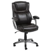 Global Office Furniture Bonded Leather Executive Chair Brown Silver Painted Arms (80281H-2-MA)