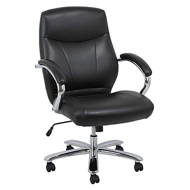 Barcalounger Office Bonded Leather Big & Tall Executive Black Chromed Steel Arm with Upholstery Arm Pad (9278H-MA)