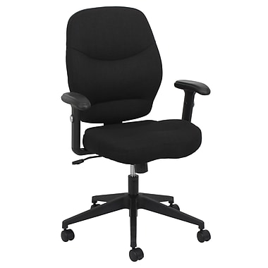 Barcalounger Office Furniture Fabric Task Desk Chair Black Embossed Adjustable Arm with Molded Arm Pad (80286M-MA)