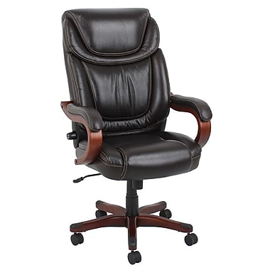 Barcalounger Office Bonded Leather Big & Tall Executive Chair Brown Painted Wood Arm with Upholstery pad (9619H-MA)