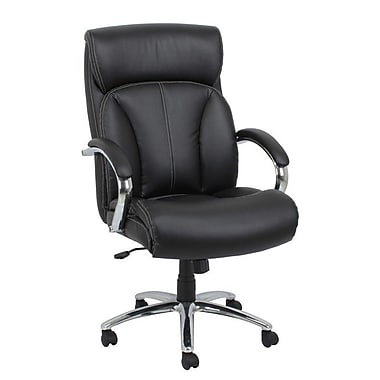 Barcalounger Office Bonded Leather Executive Chair Black Chromed Steel Arm with Upholstery Arm Pad (80261H-MA)