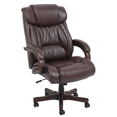 Barcalounger Office Bonded Leather Big & Tall Executive Chair Brown Painted Wood Upholstery Arms with Pad( (9641H-MA)