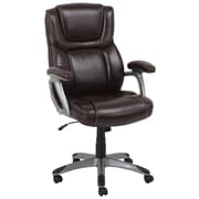 Global Office Furniture Bonded Leather and PVC Executive Chair Burgundy Silver Painted Arms (80281H-1-MA)