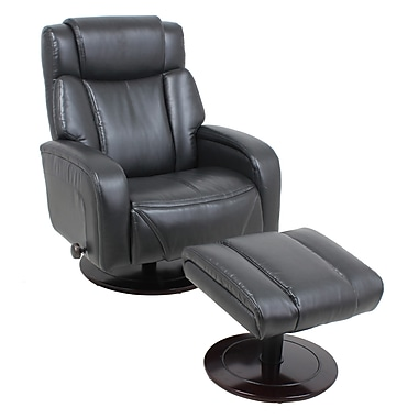 Global Office Furniture Bonded Leather Recliner with Ottoman Black (8422-MA)