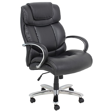 Barcalounger Office Bonded Leather Executive Big & Tall Leather Chair Black Chromed Plated Arms (9448H-MA)