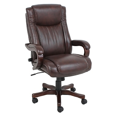 Barcalounger Office Furniture Bonded Leather and PVC Executive Wood Chair Brown Wood Arms Stain in Expresso Finish (9494H-MA)