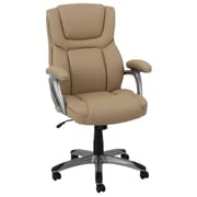 Global Office Furniture Bonded Leather with PVC Executive Chair Camel Silver Painted Arms (80281H-3-MA)