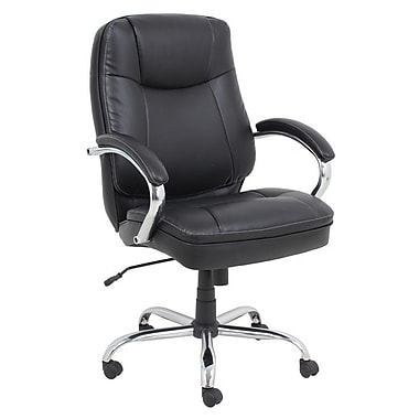 Barcalounger Bonded Leather PVC Big & Tall Executive Black Chromed Armrests with Leather Pad (9280H-4-MA)