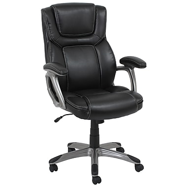 Barcalounger Office Furniture Bonded Leather and PVC Executive Chair Black Silver Painted Arms (80281H-MA)