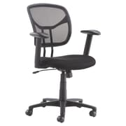 Barcalounger Office Furniture Sandwich Fabric and Mesh Desk Chair Black Adjustable Arms with Pad (3407M-9-MA)