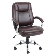 Global Bonded Leather and PVC Big & Tall Executive Chair Brown Chromed Armrests with Leather Pad (9280H-1-MA)