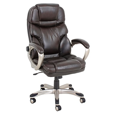 Barcalounger Office Bonded Leather Tools Free Chair Brown Painted Polpropylene Arm with Upholstery Arm Pad (3911H-1-MA)