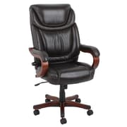 Barcalounger Office Bonded Leather Big & Tall Executive Chair Brown Painted Wood Arms with Upholstery Arm Pad (9619H-MA)