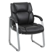 Barcalounger Office Furniture Bonded Leather and Polyurethane Executive Guest Chair Black Silver Painted Arms (80265G-MA)