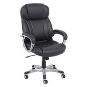 Barcalounger Office Furniture Bonded Leather and PVC Executive Leather Chair Black Silver Painted Arms (9409H-1-MA)