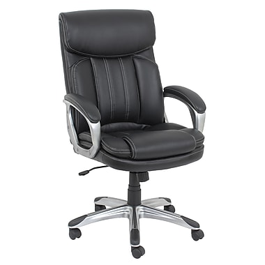 Barcalounger Office Furniture Bonded Leather and PVC Executive Chair Black Silver Painted Arms(9600M-MA)