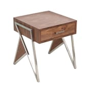 Lumisource Tetra End Table in Walnut & Stainless Steel (TBE-TETRA WL+SS)