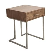 Lumisource Roman End Table in Walnut Wood and Stainless Steel (TBE-RMN WL+SS)