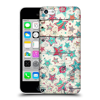 Official Micklyn Le Feuvre Holiday Patterns Grunge Stars On Shabby Chic White Painted Wood Hard Back Case For Apple Iphone 5C