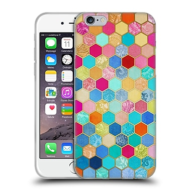 Official Micklyn Le Feuvre Hexagon Patterns Jewel Colours Soft Gel Case For Apple Iphone 6 / 6S
