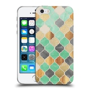 Official Micklyn Le Feuvre Quatrefoil 2 Charcoal Mint Wood And Gold Moroccan Pattern Soft Gel Case For Apple Iphone 5 / 5S / Se