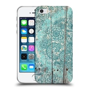 Official Micklyn Le Feuvre On Wood Teal And Aqua Botanical Doodle On Weathered Soft Gel Case For Apple Iphone 5 / 5S / Se