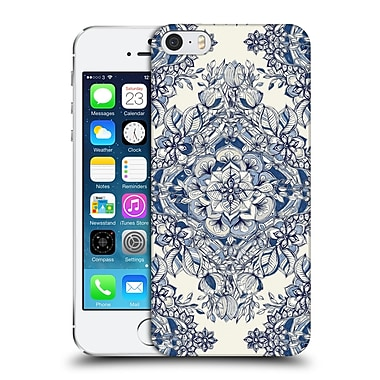 Official Micklyn Le Feuvre Floral Patterns Diamond Doodle In Navy Blue And Cream Hard Back Case For Apple Iphone 5 / 5S / Se