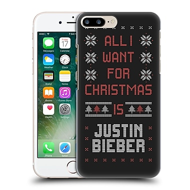 Official Justin Bieber Knitted Christmas All I Want For Christmas Hard Back Case For Apple Iphone 7 Plus