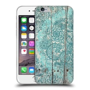 Official Micklyn Le Feuvre On Wood Teal And Aqua Botanical Doodle On Weathered Soft Gel Case For Apple Iphone 6 / 6S