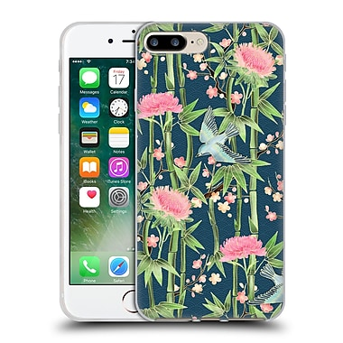 Official Micklyn Le Feuvre Patterns 3 Bamboo Birds And Blossoms On Dark Teal Soft Gel Case For Apple Iphone 7 Plus