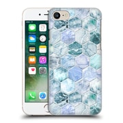 Official Micklyn Le Feuvre Marble Patterns Ice Blue And Jade Stone And Hexagon Tiles Hard Back Case For Apple Iphone 7