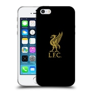 Official Liverpool Football Club Liver Bird Gold Logo On Black Soft Gel Case For Apple Iphone 5 / 5S / Se