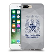 Official Manchester City Man City Fc Crest Geometric Grey Outline Obsidian Soft Gel Case For Apple Iphone 7 Plus